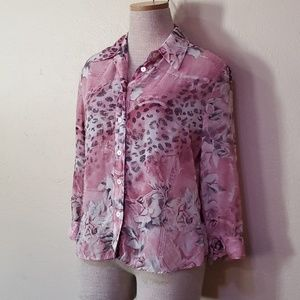 4C Dayeon FBS pink leporad button up sheer top